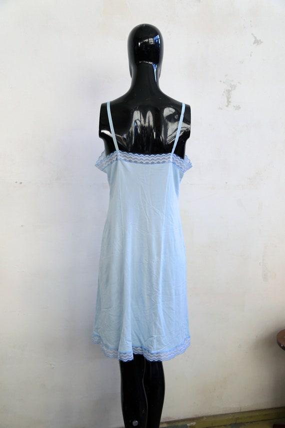 Vintage lace Soviet underwear petticoat - sky blu… - image 5
