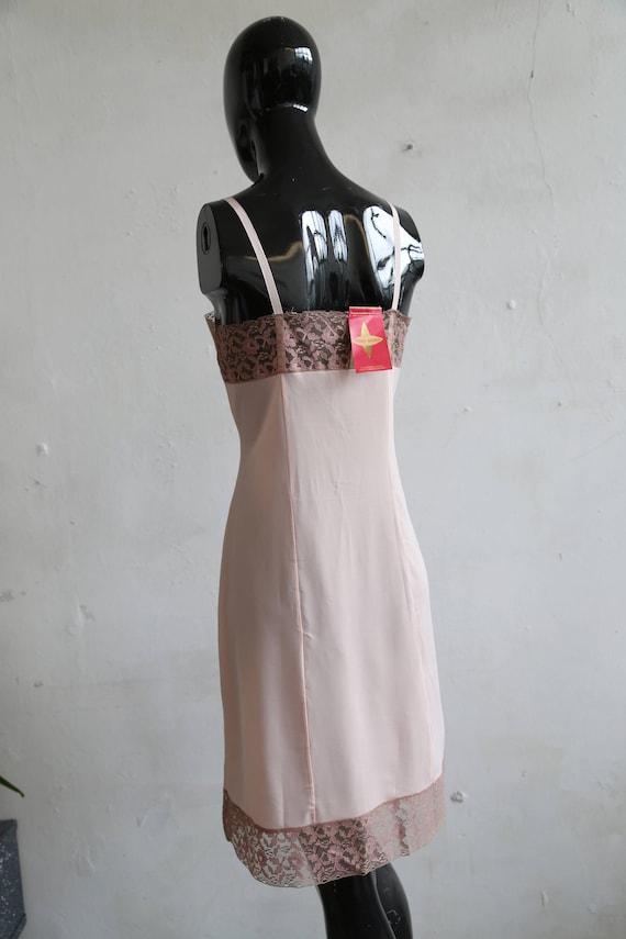Vintage soviet underwear petticoat - beige lace u… - image 4