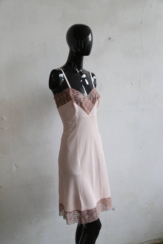 Vintage soviet underwear petticoat - beige lace u… - image 2