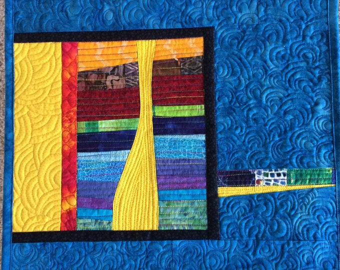 Abstract Art Quilt in Blue, Modern Colorful Wall Art, Improv Quilted Wall Hanging, Contemporary Fiber Quilted Art