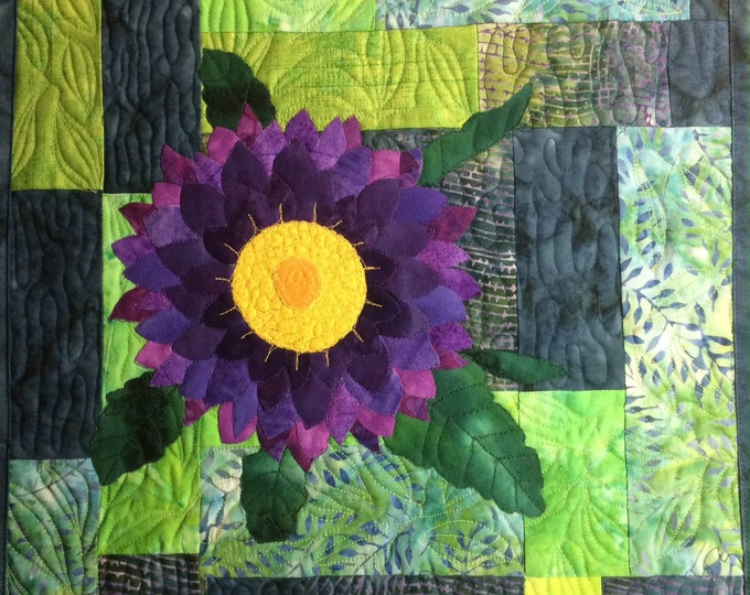 Art Quilt Purple Dahlia, Modern Quilted Wall Hanging, Colorful Fiber Art, Contemporary Wall Art