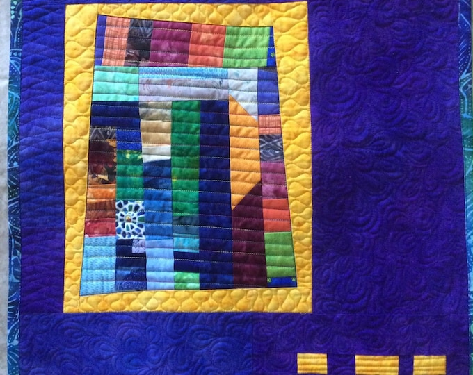 Abstract Art Quilt in Purple, Modern Colorful Wall Art, Improv Quilted Wall Hanging, Contemporary Fiber Art Quilt