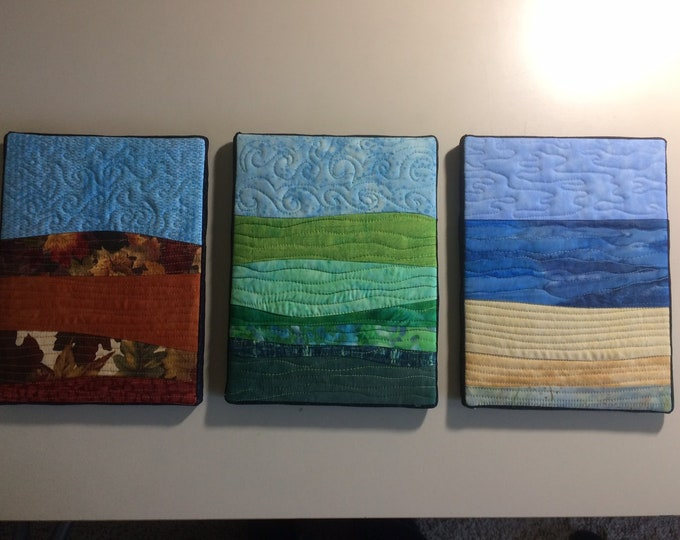 Three Mini Landscape Quilts, Small Canvas Mounted Wall Hangings, Fiber Wall Art in Blue Orange Green