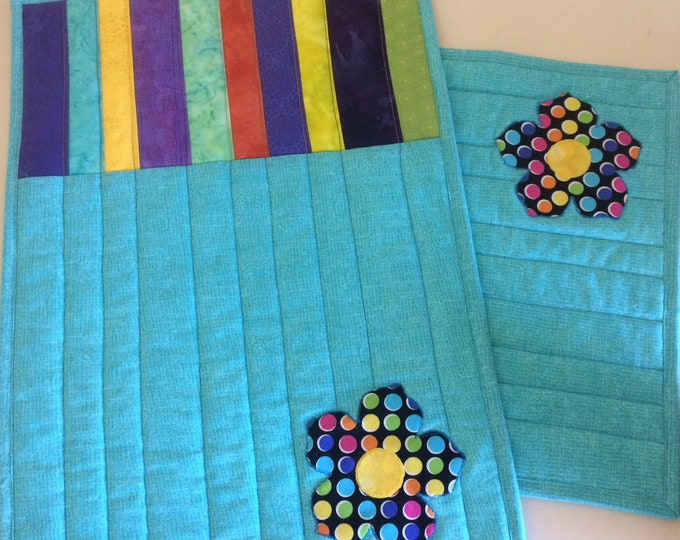 Colorful Quilted Placemats Set of 2, Bright Handmade Fabric Placemats, Quilted Table Decor