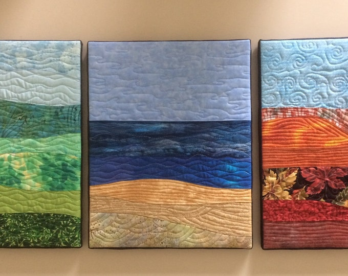 Custom Order 3 Small Landscape Quilts, Small Canvas Mounted Wall Hangings, Landscape Quilts