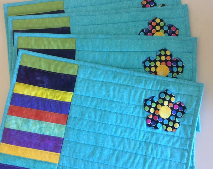 Colorful Quilted Placemats Set of 4, Bright Handmade Fabric Placemats, Quilted Table Decor