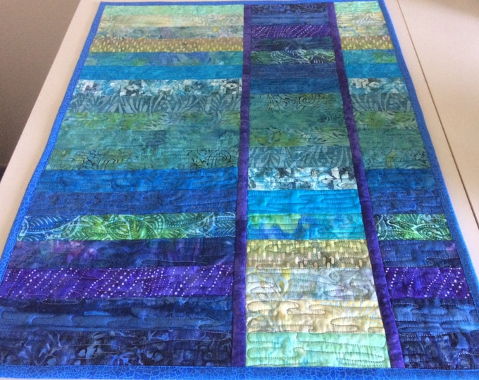 Art Quilt Batik Water Color, Abstract Quilted Wall Hanging, Modern Fiber Art Wall Quilt in Blue Green