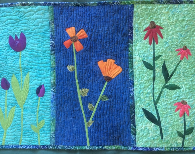 Art Quilt Summer Flowers, Quilted Wall Hanging Tulips Coneflowers Poppies, Colorful Modern Fiber Art