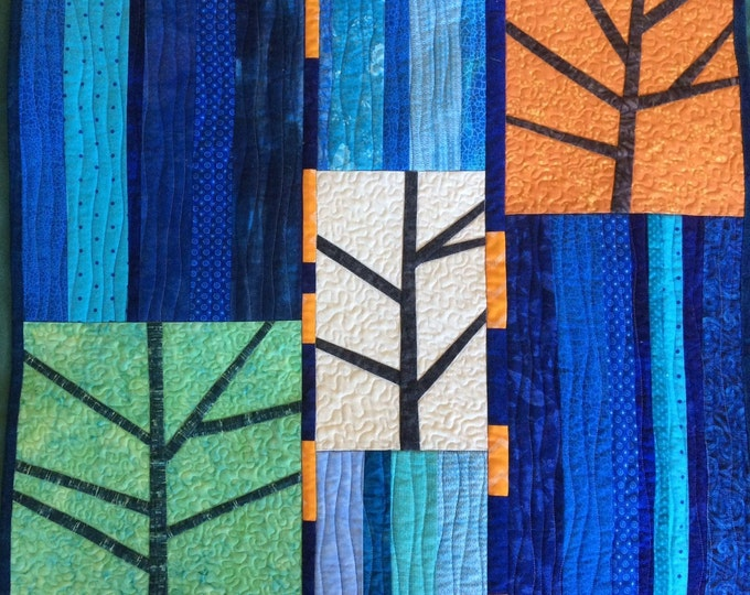 Three Trees Art Quilt Abstract Landscape, Colorful Quilted Wall Hanging, Modern Quilted Wall Art