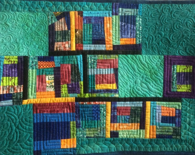 Abstract Teal Art Quilt, Modern Colorful Wall Art, Quilted Wall Hanging, Contemporary Fiber Art