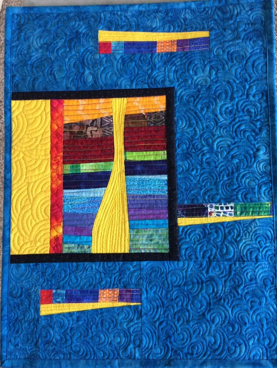 Free Shipping Art Quilt Abstract Blue Modern Colorful Wall Etsy