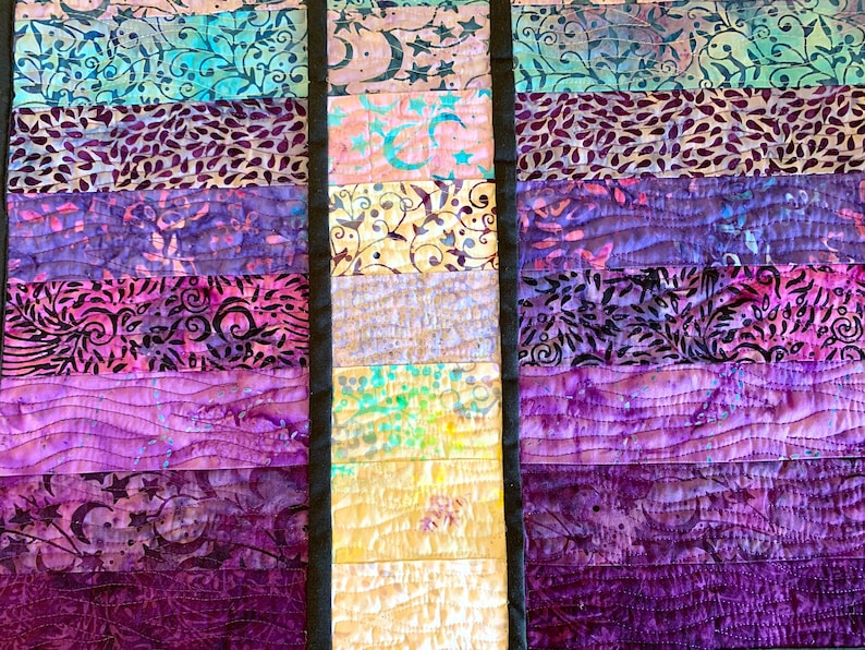 Art Quilt Batik Watercolor Modern Fiber Art Wall Quilt in Blue Purple Abstract Quilted Wall Hanging