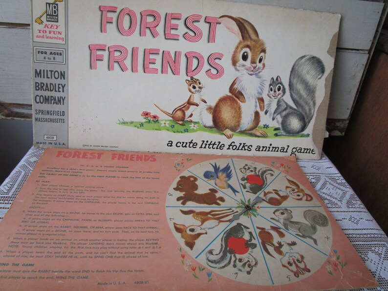 Forest Friends box top and spinning wheel Distressed young children/'s game remnants from 1960s.