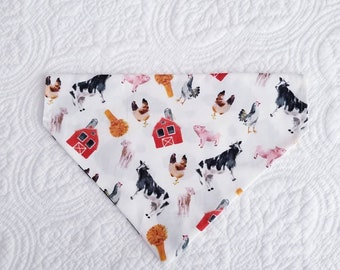 Farm Animals Over-the-Collar REVERSIBLE Bandana for dogs and cats