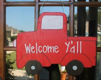 Red Truck Wooden Door Hanger