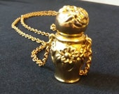 Geminesse by Max Factor Perfume Bottle Necklace Flower Urn Design Vintage 1970s Scarce Free Shipping