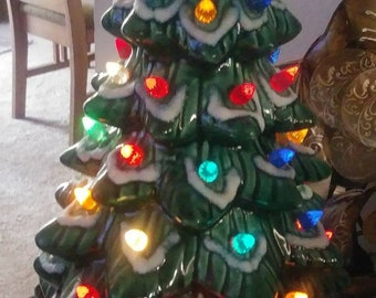vintage 18 inch ceramic 2 piece light up tabletop christmas tree free shipping