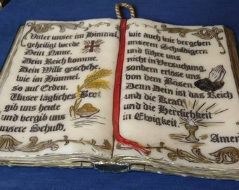 Free US Shipping 1950s German Carved Wax Wall Hanging Bible Lord's Prayer ?