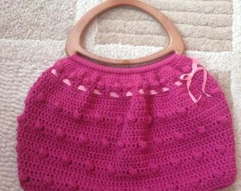 Crochet Handbag with wood-plastic handles