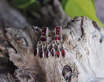 Vintage artisan sterling silver garnet earrings