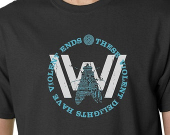 WESTWORLD - T-shirt - These Violent Delights - Maze - Host - Hit TV Show Inspired - Brand New Design - Hand Screen Printed