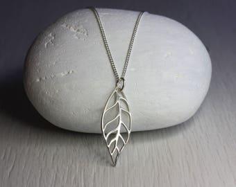 Silver Leaf Pendant Necklace, Sterling silver