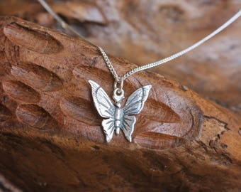 Silver Butterfly Pendant Necklace, Sterling silver