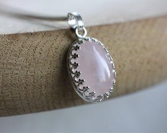 Rose Quartz Pendant Necklace, sterling silver