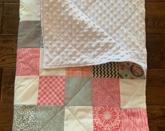 Adelaide Patchwork baby quilt-Pink, grey and white. Free shipping!