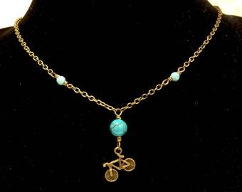 Bronze Bicycle Necklace / Bike Necklace, Bike Jewelry, Bicycle Jewelry, Bike Choker, Bicycle Gifts, Cyclist Necklace, Mountain Bike, Biker