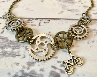 Bicycle Gear Steampunk Necklace / Bike Necklace, Bicycle Necklace, Bicycle Jewelry, Bike Jewelry, Steampunk Clothing, Bicycle Gift, Biker