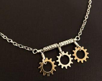 Bicycle Gears Bar Choker Necklace / Bike Necklace, Bicycle Necklace, Bike Jewelry, Bicycle Jewelry, Bicycle Gift, Steampunk Clothing, Biker