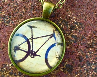 Mountain Bike Cabochon Necklace/ Bicycle Necklace, Bike Necklace, Bike Jewelry, Bicycle Jewelry, Bike Pendant, Bicycle Pendant, Bicycle Gift