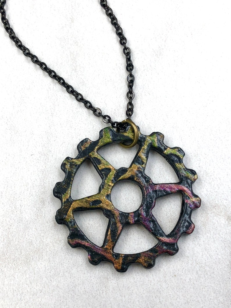 Bicycle Art Bicycle Gifts Multi-Color Chain Ring Bicycle Necklace| Bicycle Jewelry Bike Jewelry Bicycle Accessories Bike Necklace