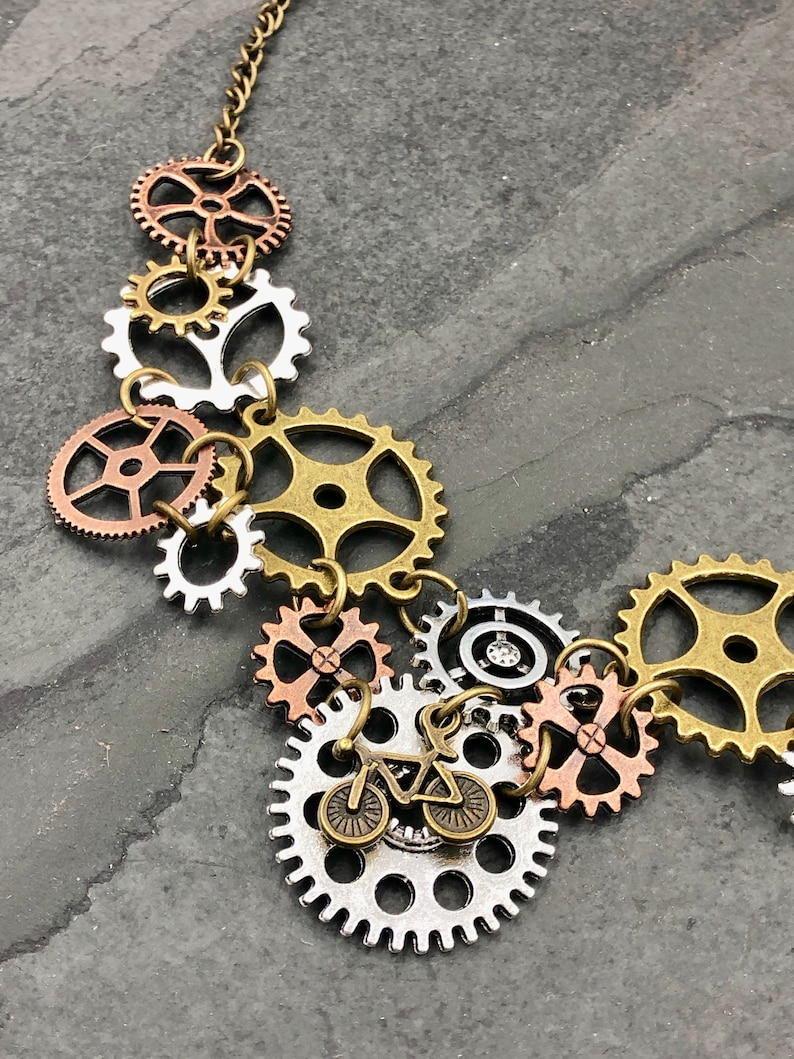 Chainring Bicycle Necklace and Earrings Set Steampunk Jewelry Bicycle Accessories Mountain Bike Jewelry Bicycle Gifts Bike Gifts c