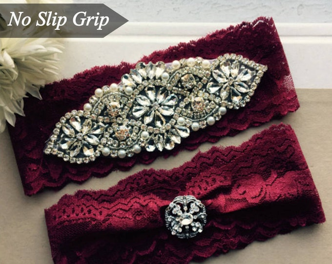 Burgundy Red Wedding Garter Set NO SLIP grip vintage rhinestones AO1S-A19