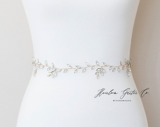 Opal and Gold Wedding Dress Belt, Bridal Sash, Wedding Belt, Wedding Sash Rhinestone and Pearl Sash, B135