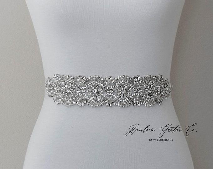 Wedding Dress Belt, Bridal Sash, Wedding Belt, Wedding Sash Rhinestone and Pearl Sash, B131