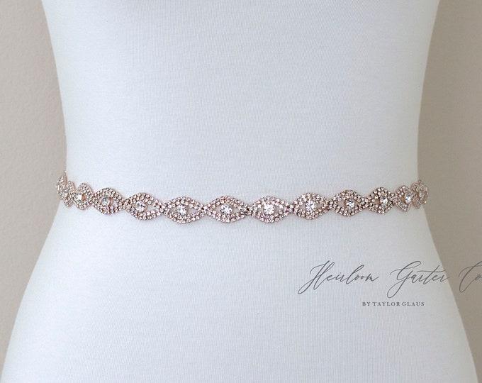 Rose Gold Rhinestone Belt, Crystal Bridal Belt, Bridal Sash, Wedding Belt, Wedding Sash Rhinestone Sash B19RG