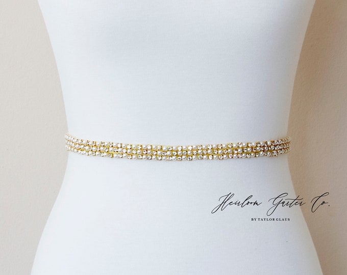 Dainty Gold Bridal Belt, Square Bridal Sash, Beaded Bridal Sash, Wedding Belt, Wedding Sash Rhinestone Sash B117G