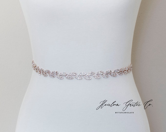Rose Gold Dainty Bridal Belt, Bridal Sash, Wedding Belt, Wedding Sash Rhinestone and Pearl Sash B11RG