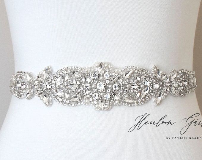 Beaded Bridal Belt, Rhinestone Bridal Sash, Beaded Bridal Sash, Wedding Belt, Wedding Sash B111S