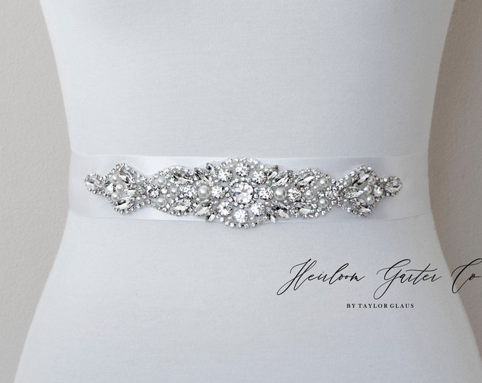 Wedding Dress Belt, Bridal Sash, Wedding Belt, Wedding Sash Rhinestone and Pearl Sash, 98 WIDE