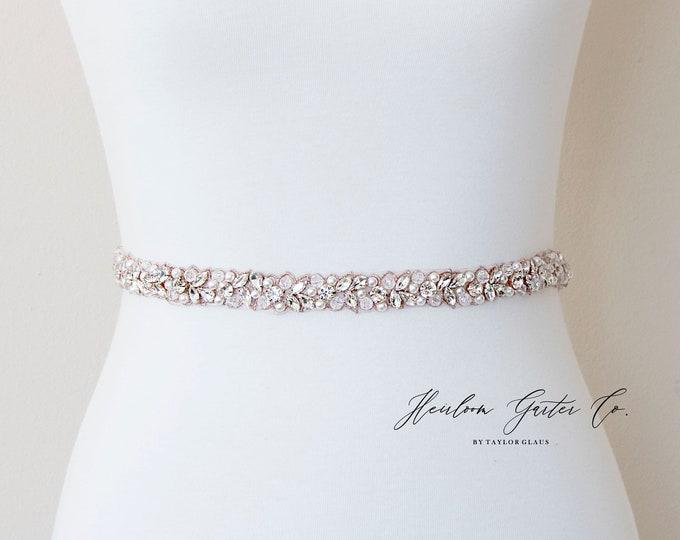 Dainty Rose Gold Bridal Belt, Square Bridal Sash, Beaded Bridal Sash, Wedding Belt, Wedding Sash Rhinestone Sash B119RG