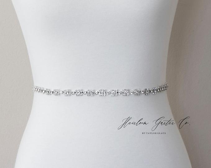 Dainty Bridal Belt, Square Bridal Sash, Beaded Bridal Sash, Wedding Belt, Wedding Sash Rhinestone Sash B114S