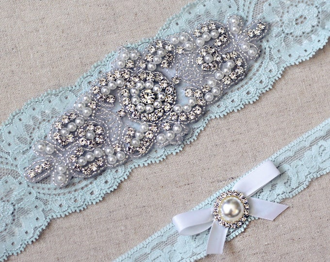 Something blue Wedding Garter Set NO SLIP grip vintage rhinestones pearl lace rhinestone G08S-G*31