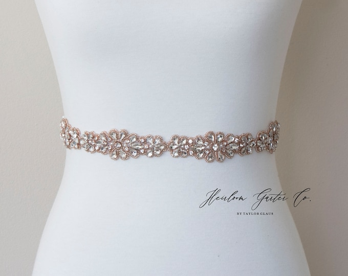Wedding Dress Belt, Bridal Sash, Wedding Belt, Bridesmaid Belt, Wedding Sash Rhinestone and Pearl Sash, B130RG
