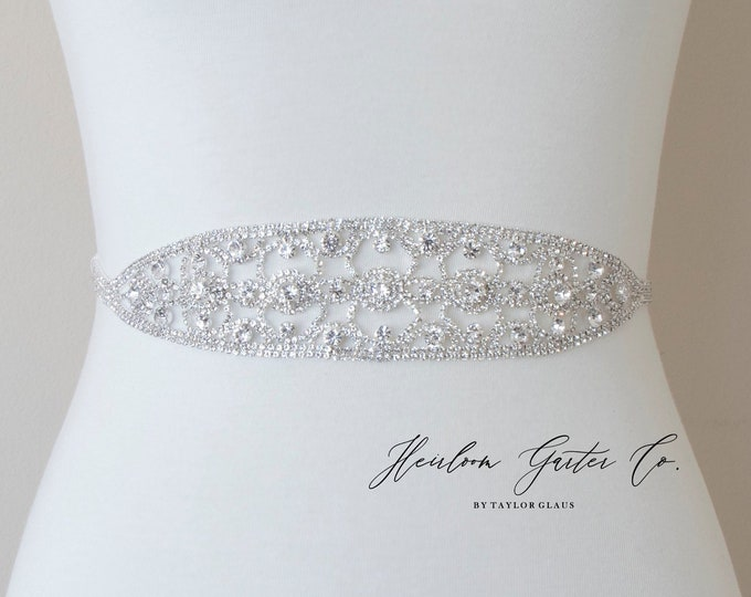 Formal Dress Belt, Bridal Sash, Wedding Belt, Wedding Sash, Silver Rhinestone and Sash B106