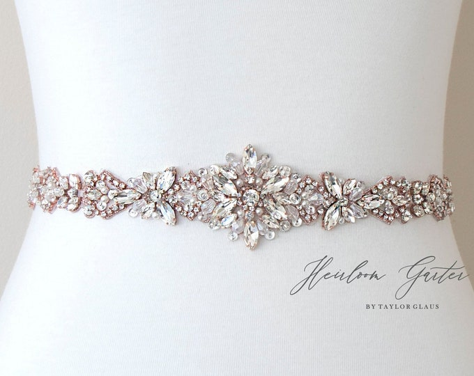 Rose Gold Bridal Belt, Rhinestone Bridal Sash, Beaded Bridal Sash, Wedding Belt, Wedding Sash B107RG