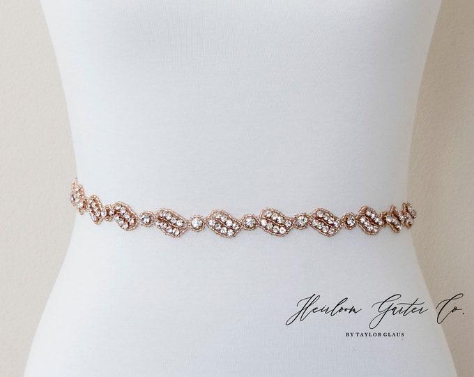 Dainty Rose Gold Bridal Belt, Square Bridal Sash, Beaded Bridal Sash, Wedding Belt, Wedding Sash Rhinestone Sash B115RG